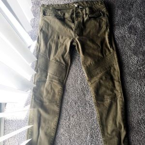 Cute Olive Green Moto Jeans from J. Crew